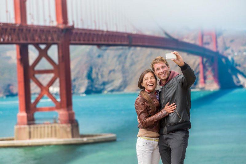A happy couple in San Francisco