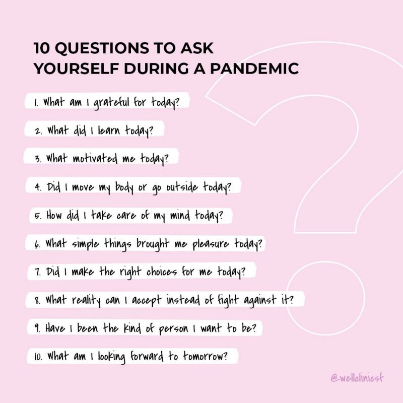 Image of of Well Clinic SF's List of questions for Blog Post '10 Daily Questions to Ask Yourself During a Global Pandemic'